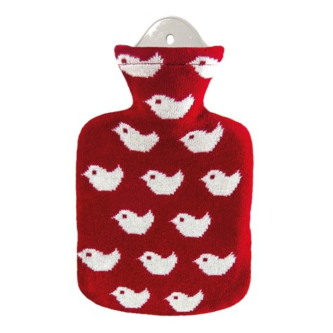 "Wärmflasche 0.8 Liter ""Baby Birds"", rot"