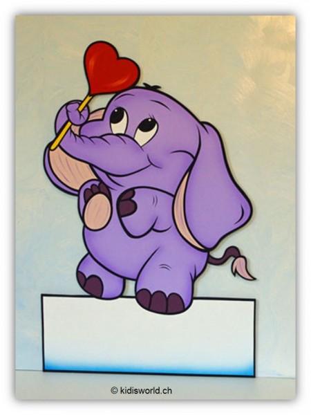 """Geburtstafel """"Elefant mit Herz"""""""