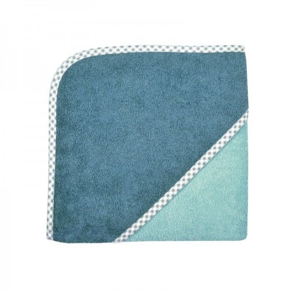 Kapuzenbadetuch 80x80 cm, kristallblau/rauchblau