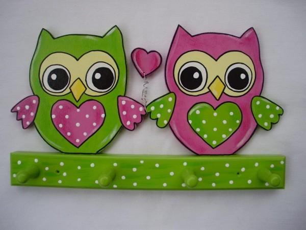 """Garderobe """"Eulen Paar pink-grün"""""""