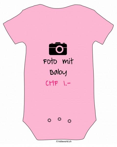 """Baby Body bedruckt """"Foto mit Baby CHF 1.-"""""""