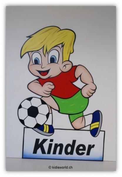 """Strassentafel """"Kinder"""" Bube mit Ball"""